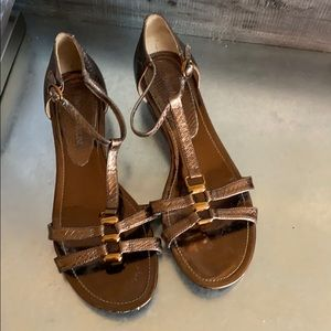 Enzo angiolini bronze and gold dress sandals